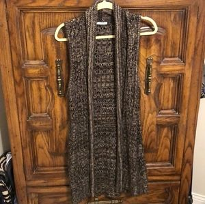 Maurices brown tan long sweater vest open front
